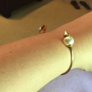 Stella & Dot Edgy Gold and Pearl Cuff